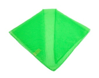Vintage Lime Green Scarf White Polka Dots Sheer Polyester 26 Inch Square Headwear Ponytail Holder Purse Decoration Summer Accessory