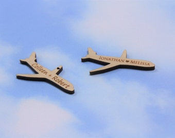 """Airplane Favor, Tags, Jet, Plane, Birthday Party, Favors, Personalized Airplane Tags, Engraved Airplane Tags, Wooden Favor Tags, 2"""""""