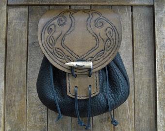 Celtic Raven Leather Sporran, Medieval Pouch, Renaissance Belt Bag, Tooled - Deluxe