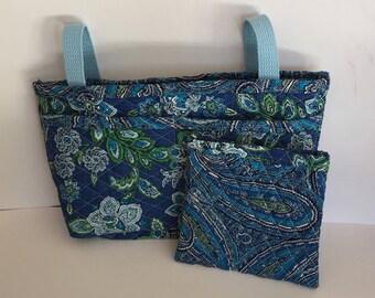 Women's Blue Quilted Walker Bag/Walker Caddy