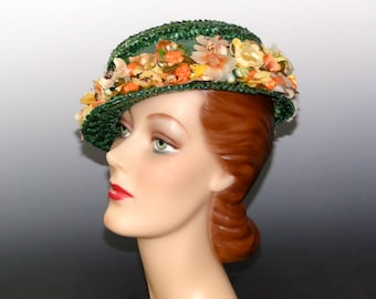 Women's 1940's Boater Green Straw Vintage Hat Berries and Flower Trim