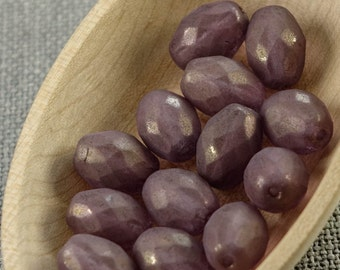 20pc Faceted Olive beads, Fire Polished Oval Beads, 13mm Frosted purple glass beads, 13x10mm olive beads, Matte purple gold rice beads last