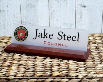 Military - Air Force, Navy, Army, Coast Guard Desk Name Plate Sign makes a great Gift 10 X 2.5