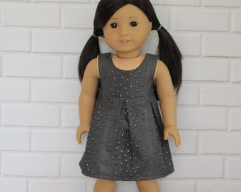 Dark Grey Sleeveless Pleated Summer Dress Doll Clothes to fit 18 inch dolls to 20 inch dolls such as American Girl & Australian Girl dolls