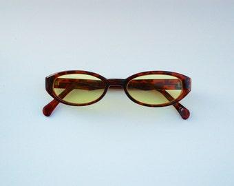 Vintage 90s NOS Dead Stock Sunglasses w Yellow lens / Oval Sunnies w Tortoise  tone Frame  - Seapunk/Grunge/Acid House/Rave Culture