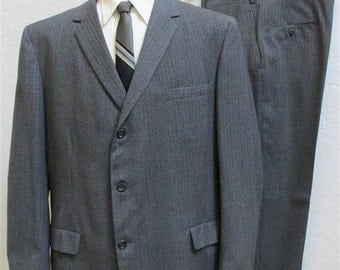On Sale! 1960's Men's Dark Grey Tweed 3 Piece Suit - Size: 46
