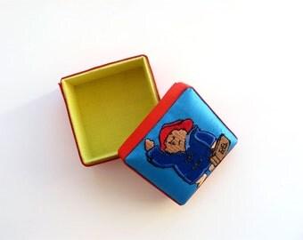 Paddington Bear Box Tiny Awesome Small Vintage Trinket Box Puffy Lid Vintage 80s Bright & Fun Colors