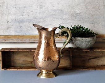 Vintage copper pitcher, copper vase, rustic home decor