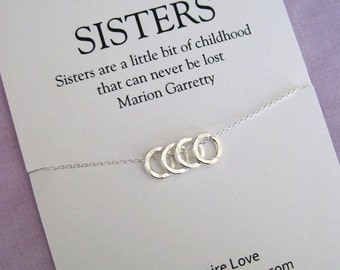 4 SISTERS Necklace. 40th Birthday Gift for Sister. SISTER Necklace. Sister Gift. Bridal Party.  Maid of honor Sister. Sisters Necklace