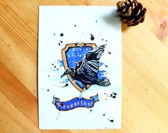 Ravenclaw House Crest Original Watercolor