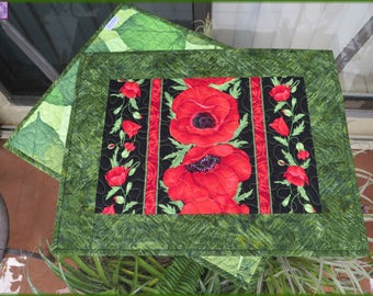 Quilted Placemats Red Poppy Flora 586
