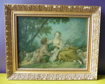 Vintage French Reproduction Painting François Boucher Gallant Pastoral Scene, Country, Rococo, Art, France, Sheep, Frame, Romantic, Gilded