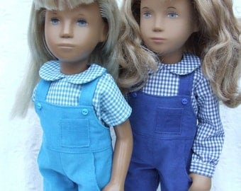 """Corduroy Dungarees and Gingham Blouse outfit for 16/17"""" Sasha doll"""