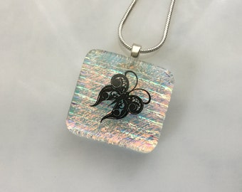 ON SALE - Dichroic Glass Butterfly Pendant, Fused Glass Butterfly Jewelry