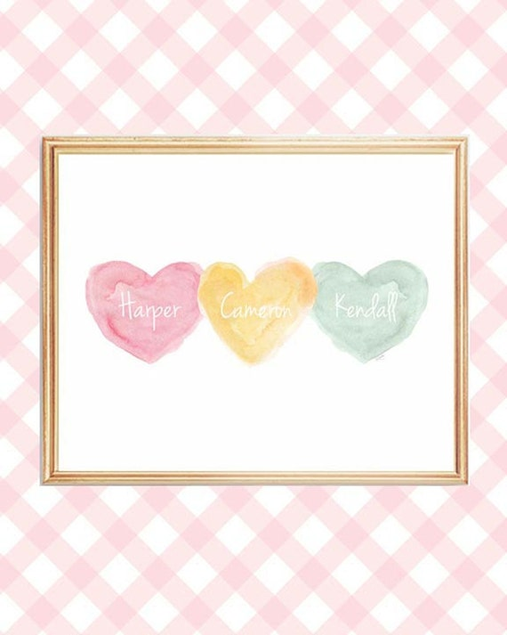 Pastel Nursery Print for Triplets, 8x10 Personalized Names