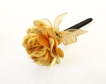 Metallic Gold Paper Rose Pen for 50th Anniversary, 50th Birthday or Wedding Personalized Print Metallic Gold Lux Paper