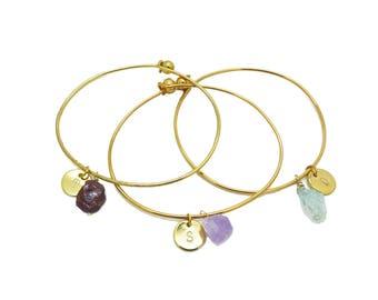 Personalized Bangle Bracelet, Personalized Bracelet, Initial Bracelet Gold, Charm Bracelet Mother Daughter, Gemstone Bangle
