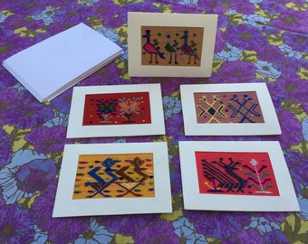 70's Embroidered Greeting Cards - Set of x5 Vintage Handmade Needlepoint Southwestern Cards