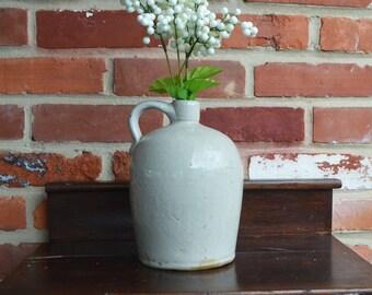 Vintage Cream/Gray Stoneware Whiskey Jug