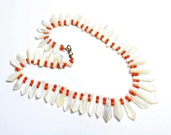 Art Deco Mother of Pearl & Orange Beads Handmade Necklace (c1920s) - Wedding