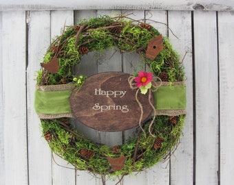 Mossy Green  Wreath - Spring Wreath - Spring Door Wreath - Country Wreath - Farmhouse Wreath - Welcome Wreath - Front Door Wreath - Rustic
