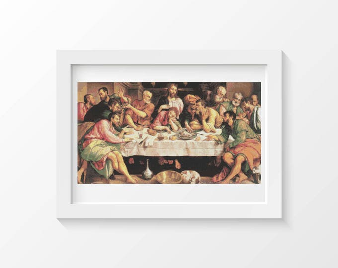 Cross Stitch Pattern PDF, Embroidery Chart, Art Cross Stitch, The Last Supper by Jacopo Bassano (BASSA01)
