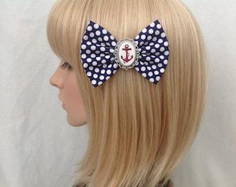 Anchor hair bow clip rockabilly psychobilly kawaii pin up pinup girl punk sailor nautical blue white polka dot red navy retro