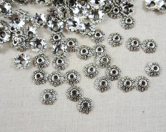 Bead Caps - Antiqued Silver Flower Bead Cap  (10352NF) - 7mm - Qty 100 pcs.