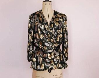 Vintage 1970s House of Nu-Mode Gold & Silver blouse - 70s Lamé blouse - Metallic peplum top - Metallic lamé blouse - Disco blouse - lamé top