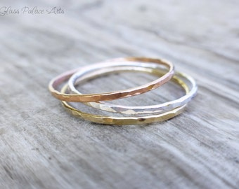 Hammered Stacking Ring Silver, Thin Ring Rose Gold, Minimalist Ring Set Gold, Dainty Finger Rings, Layering Thumb Rings For Women Gift Set