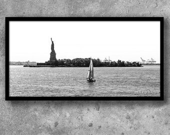 Statue of Liberty Photograph, New York Photography, Black and White, Immigration, Immigrant, Panorama, Sail Boat, 10x20, 10x30, 12x24