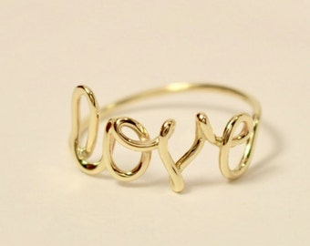 14k love word ring, 14k love ring, 14k scrip love ring, 14k promise ring, 10k love ring, 10k gold ring, 10k promise ring, 14k gold ring