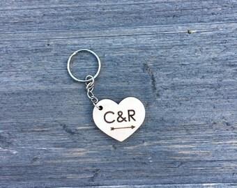 Personalized Heart Keychain, Wood Keychain, Engraved Keychain, Cute Anniversary Wedding Birthday Christmas Bridesmaid Key Chain Ring Gift