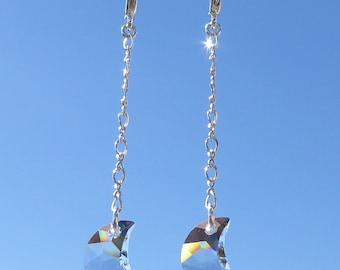 Celestial Earrings, Swarovski Crystal Moon Earrings, Crescent Moon Earrings, Crystal Earrings, Swarovski Crystal Earrings Drop Earrings OOAK
