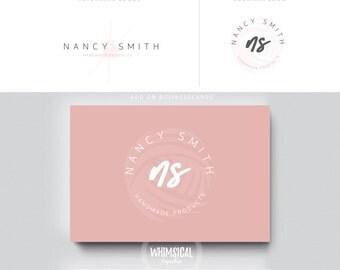 KNITTING LOGO 2 branding  initials businesscards  simple modern feminine branding- logo Identity for Handmade products store etsy store yarn