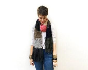 Boho Wool Scarf, Bohemian Wool Scarf, Color Block Scarf, Boho Fashion Scarf, Bohemian Fashion, Long Crochet Scarf, Knit Scarf, Gift Idea