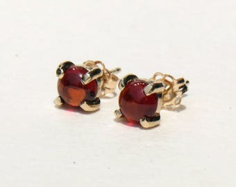 Garnet earrings, garnet studs, garnet jewelry, gemstone studs, solid gold earrings, january birthstone