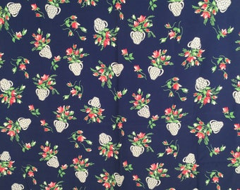 """Vintage 40s Novelty Fabric Yardage, Navy, Pink Roses, Green Leaves, Gray, White, Urns, Rayon Crepe, 2 1/2 Yards, W 43"""", Sold As a Whole"""