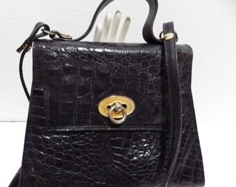 1980s Vintage Made in Italy Black Alligator Embossed Handbag Shoulderbag Montinaro