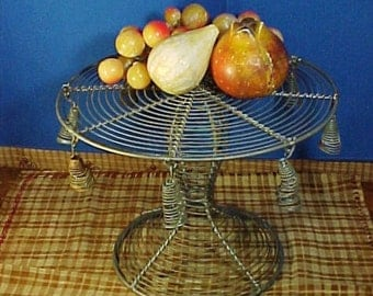Vintage Tazza, Compote, French Woven or Twisted Wire Tazza with Tassels