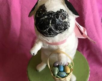 Handmade Spun Cotton PUG Easter Box, Spring/Easter Decoration