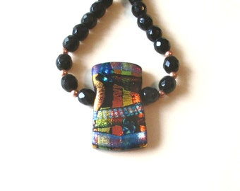 Dichroic Necklace, Dichroic Pendant and Copper & Black Glass Bead Necklace