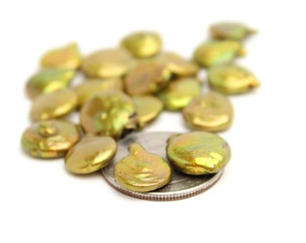 Genuine Freshwater Gold Coin Pearls 12mm 10pcs