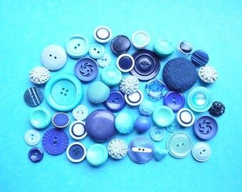 Vintage Buttons - Blue - Mixed Style 50g