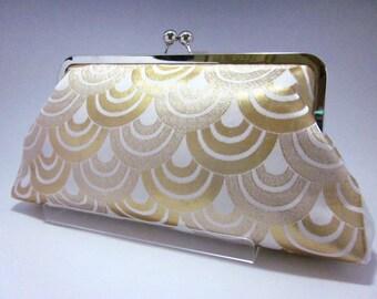 Gold Clutch/ Wave/ Kimono bag/ Cross body chain bag/Hand made / Vintage Kimono bag/7