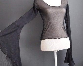 Black goth top - vamp - cyber goth - steampunk - goth - medieval  - bell sleeve top - renaissance -  90s - vintage blouse - gauzy blouse