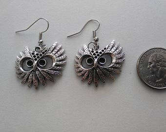 Tibetan Silver Owl Eyes Earrings & Corded Necklace
