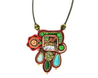 Boho soutache necklace - Boho jewelry - Artsy jewelry - Wearable art - Big bold colorful jewelry - Funky - Flashy jewelry - Hippie look