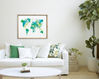 Green World Map Art Print, Watercolor Painting, 16x20 / Larger, Canvas Art Living Room Wall Decor, Green, Blue and Yellow Home Living Decor