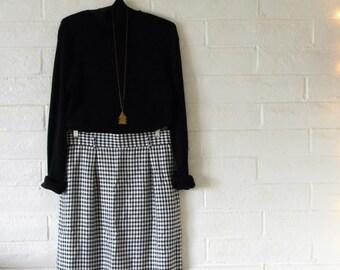 Black and White Checkered Pencil Skirt // Gingham Skirt // Vintage Gingham Pencil Skirt